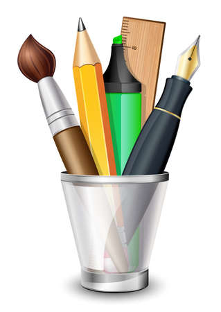 office supplies: icon of the brush, pencil, pen, ruler and marker in the holder Illustration