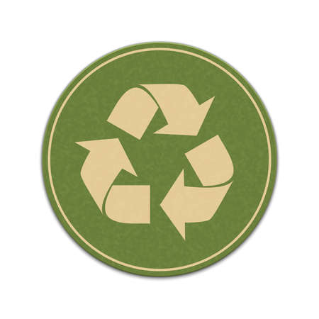 recycle bin: Paper recycle sticker isolated on a white background Illustration