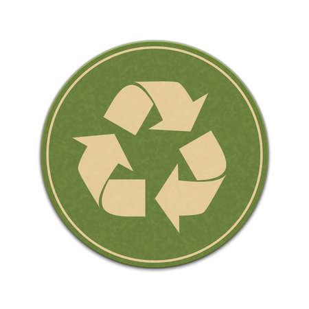 Papier recycle sticker geïsoleerd op een witte achtergrond Stockfoto - 42723556