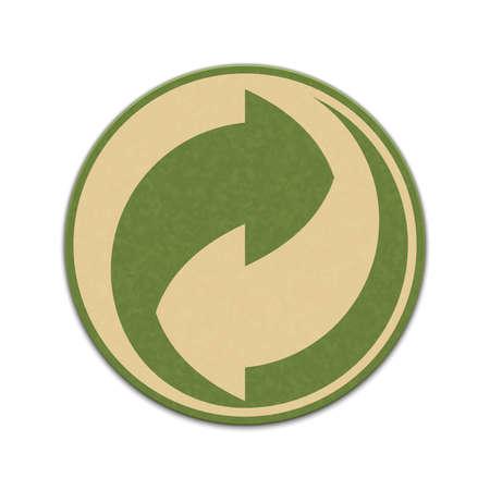 reciclable: Etiqueta de reciclaje de papel aislado en un fondo blanco Vectores