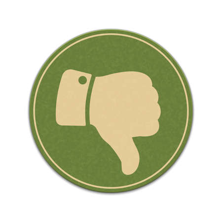 worse: Paper thumb down sticker isolated on a white background