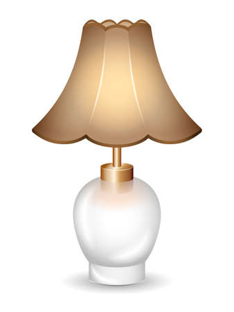 lampshade: Old-time table lamp on the white background.