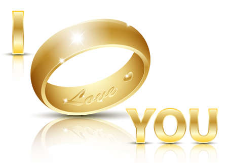 dazzlingly: Wedding Ring with an inscription Love inside. Illustration