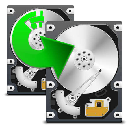storage disk: Backup data from HDD, vector Illustration