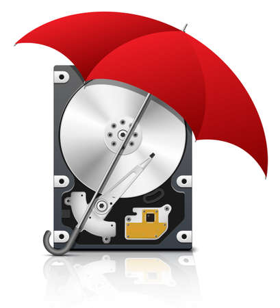 hard disk drive: Hard disk drive protection icon, vector Illustration