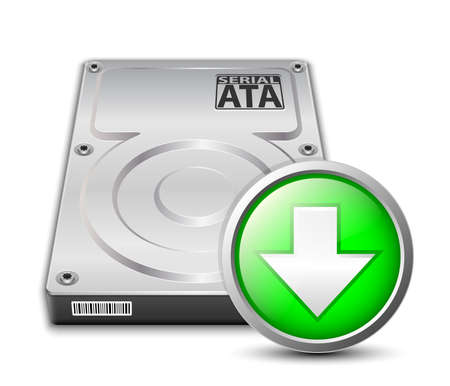 hard disk drive: Vector hard disk drive icon with download sign Illustration