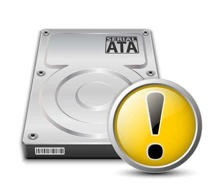 disco duro: Vector icono de la unidad de disco duro con señal de advertencia