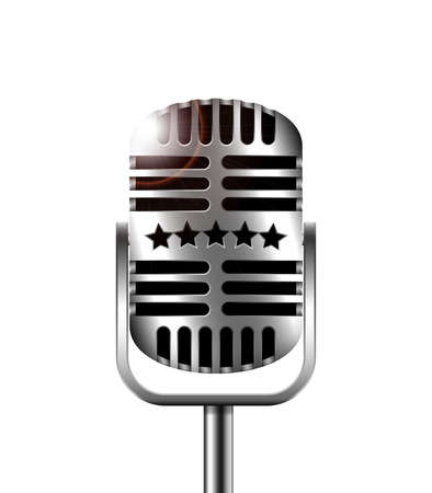retro microphone: Classic retro microphone on a white background