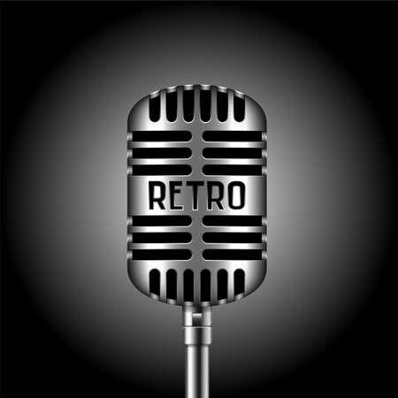 scenical: Retro microphone, vector illustration Illustration