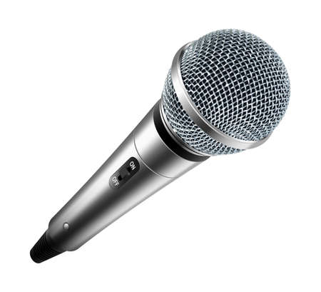 Vector microphone isolated on white background Çizim