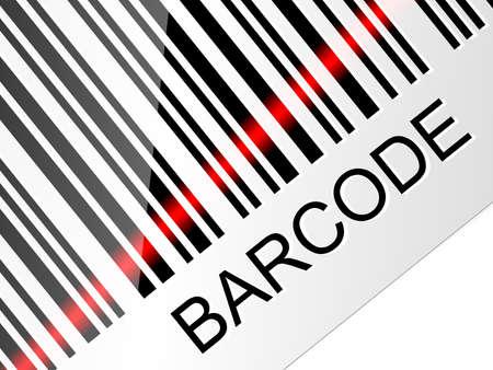beam: Closeup streepjescode met rode laserstraal. Vector illustratie Stock Illustratie