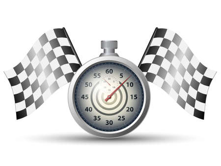 winning first: Stopwatch with checkered racing flags, vector Illustration