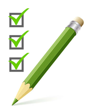 Vector illustration of a checklist with pencil on a white background Ilustração