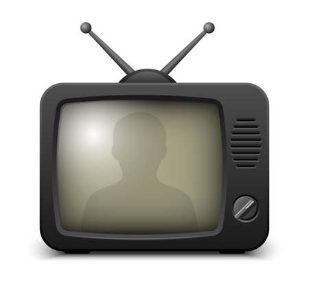 telecast: Stylish retro TV set icon. Vector illustration