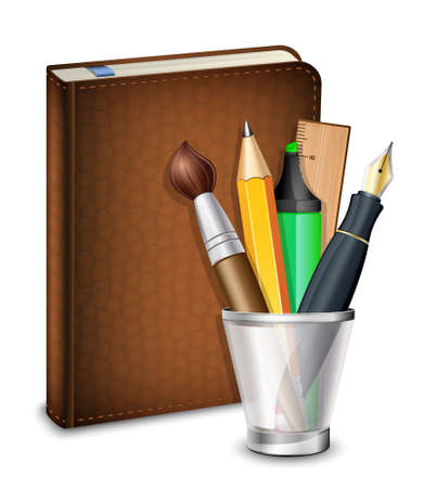 datebook: Sketchbook with pen, pencil, brush, and highlighter in the holder. Vector illustration