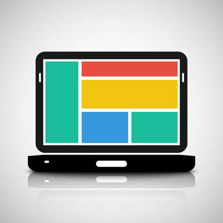 operating system: Laptop with tiled style graphic user interface Illustration