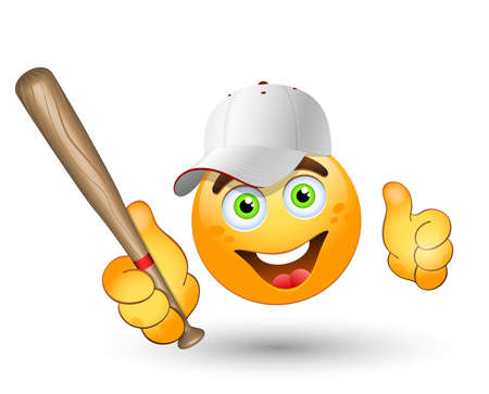 ballplayer: Cartoon  baseball player. Vector