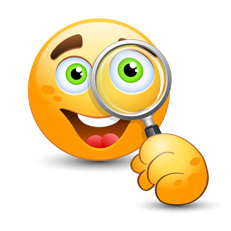 winking: Emoticon looking through magnifying glass. Vector illustration Illustration