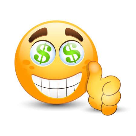 carita feliz caricatura: Vector emoticon con el pulgar arriba y el signo de dólar en los ojos