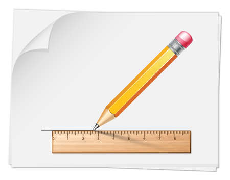 millimetre: Wooden ruler with pencil on the white paper sheet. Vector