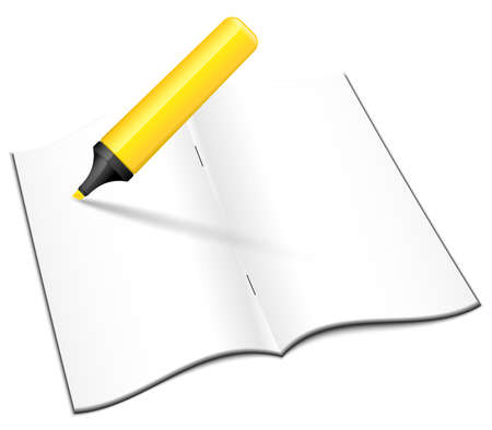 workbook: Blank open notebook with yellow highlighter, vector Illustration