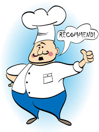 corpulent: Chef recommends a dish. Vector illustration Illustration