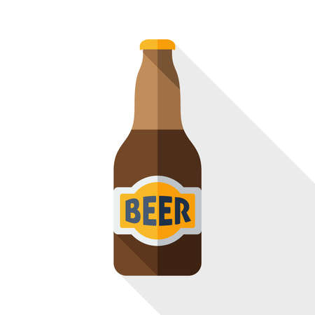 beer house: Beer bottle icon with long shadow on white Illustration