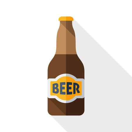Bierfles icoon met lange schaduw op wit