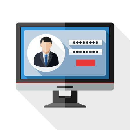 monitor screen: Monitor icon with user login form on the screen and long shadow on white background Illustration