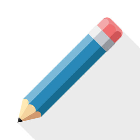 Pencil flat icon with long shadow on white background