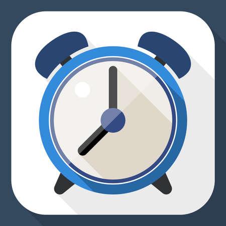 alarm clock: Alarm clock flat icon with long shadow