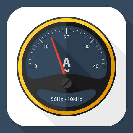 ammeter: Ammeter icon with long shadow