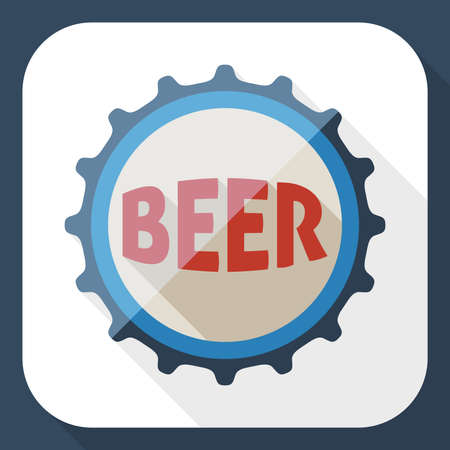 beer house: Beer bottle cap icon with long shadow