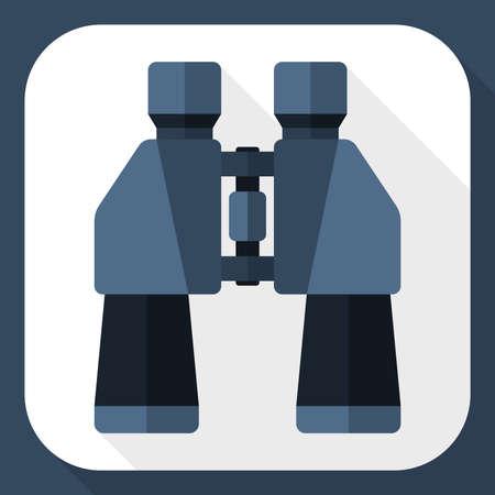 eyepiece: Binoculars flat icon with long shadow Illustration
