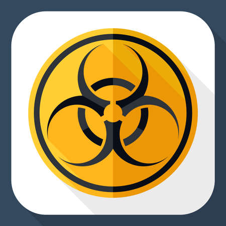 infectious waste: Biohazard icon with long shadow