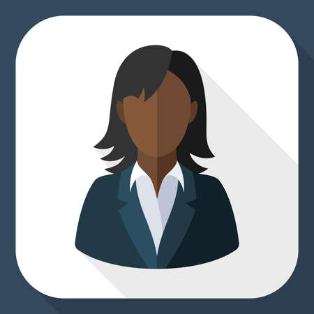 long black hair: Black female user icon with long shadow Illustration