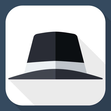 long shadow: Black hat icon with long shadow