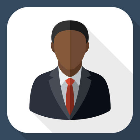 black male: Black male user icon with long shadow