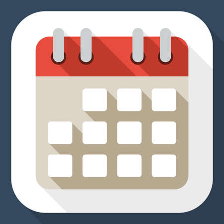 calendar icon: Calendar flat icon with long shadow Illustration