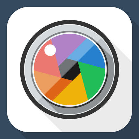 cinematographer: Camera lens flat icon with long shadow Illustration