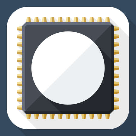 long shadow: Chip icon with long shadow Illustration
