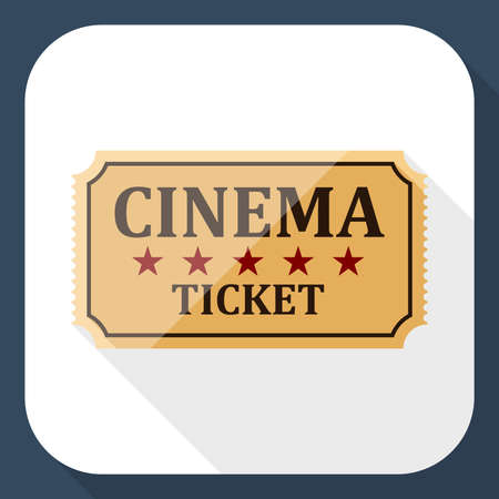cinema ticket: Cinema ticket icon with long shadow