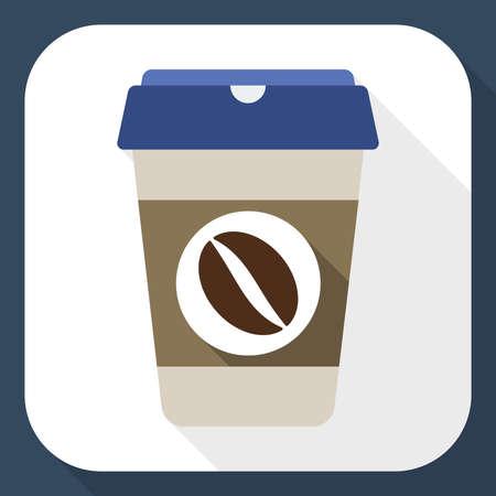 コーヒーカップ: 長い影が付いたコーヒー カップ フラット アイコン  イラスト・ベクター素材