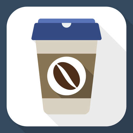 expresso: Coffee cup flat icon with long shadow Illustration