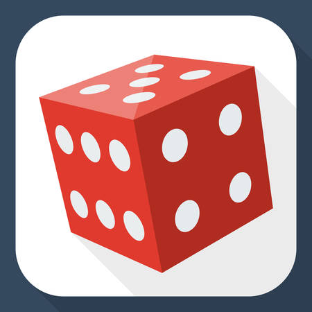backgammon: Dice icon with long shadow