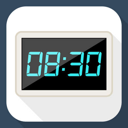 pm: Digital clock flat icon with long shadow