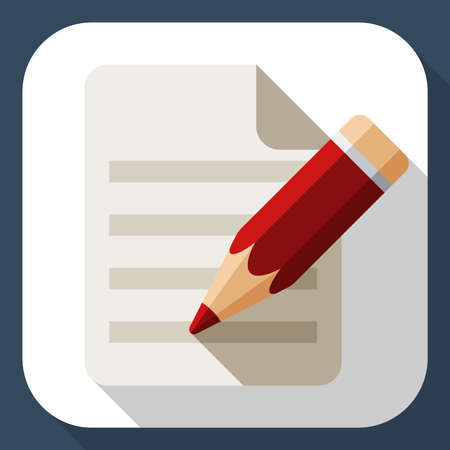 attestation: Document and pencil flat icon with long shadow