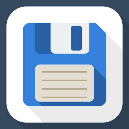 Floppy disk: Floppy disk flat icon with long shadow