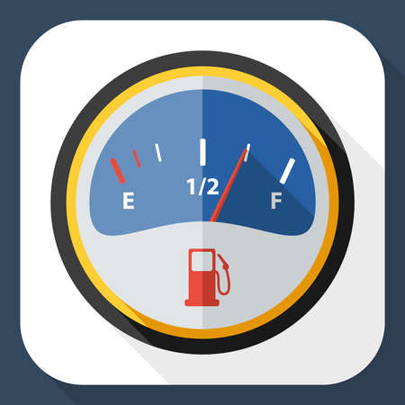 fuel gauge: Fuel gauge icon with long shadow