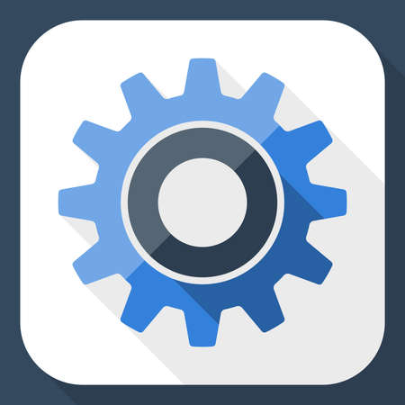 gear icon: Gear or settings icon with long shadow